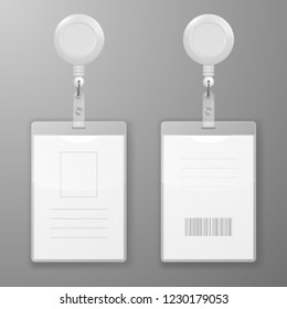 Vector Realistic Blank Office Graphic Id Cards with Round Clasp Reel Holder Clip Closeup Isolated. Front, Back Side. Design Template of Identification Card for Mockup. Identity Card Mock-up. Top View