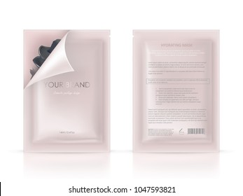 Vector realistic blank package, disposable foil sachet, open and closed, for facial mask or shampoo isolated on background. Cosmetic product for face care, skin treatment. Mockup for packaging design