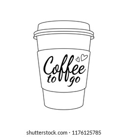 Vector realistic blank paper coffee cup for take away or to go isolated on white. Vector illustration.