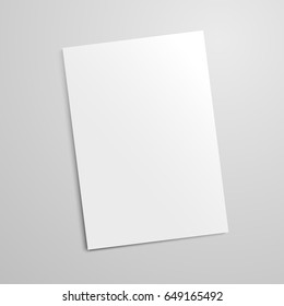 Vector realistic blank paper sheet mockup on light grey background. Flayer, poster template for your design