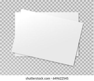 Vector realistic blank paper sheet mockup on light greytransparent background. Flayer, poster template for your design