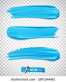 Vector realistic blue paint brush strokes on transparent background