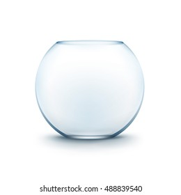 Vector Realistic Blue Transparent Glass Smooth Empty Fishbowl Aquarium Isolated on White Background