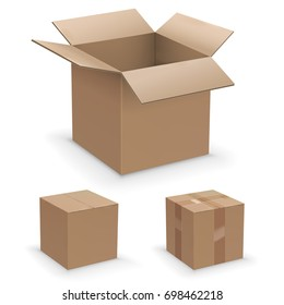 Vector realistic box set, recycle or packaging brown cardboard boxes collection, open, closed and sealed