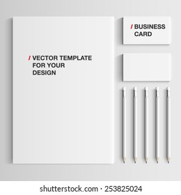 Vector realistic branding mock up, isolated on white background.