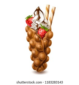 Vector realistic bubble waffle. 3d Hong Kong wafer or egg waffle with sweet ripe strawberry, vanila cream and chocolate and sticks. Gourmet dessert food, delicious restaurant meal, snack