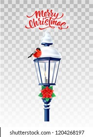 Vector realistic bullfinch bird sitting at glowing streetlight with poinsettia flower , merry christmas lettering inscription. 3d vintage lamppost with snow for xmas, new year holiday greeting card