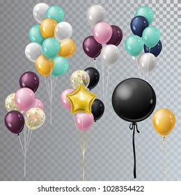 Vector realistic bunch helium balloons isolated.