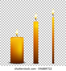 Vector realistic candle icon set isolated on transparent background. Design templates. EPS10.