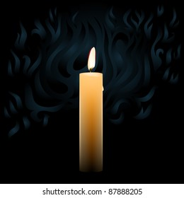 vector realistic candle on dark background with smoke