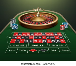 Vector realistic casino roulette table, wheel and black,red, blue chips isolated on green background