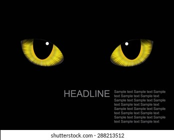 Vector realistic cat eyes on background