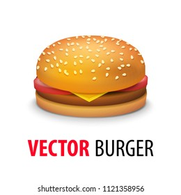 Vector Realistic Cheeseburger - Classic American Burger with Tomato, Cheese, Beef Close up isolated on white Background. Fast Food Illustration