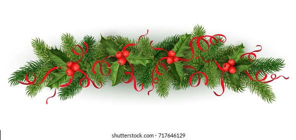 vector realistic christmas, new year holiday decoration element - spruce tree with mistletoe, ilex holly leaves, berries with silk ribbons bowtie. Isolated illustration on white background.