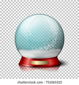 Vector realistic christmas snow globe, transparent with snowflakes inside. On plaid background.