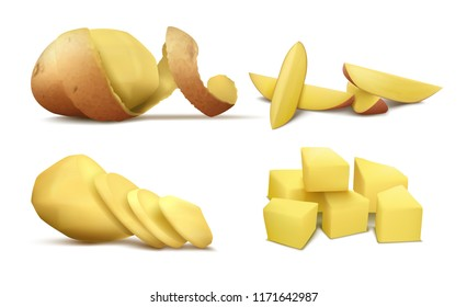 Vector realistic clipart with raw peeled potato, whole vegetable with brown spiral peel and slices isolated on white background. Natural organic food, farm product for eating, ingredient for cooking