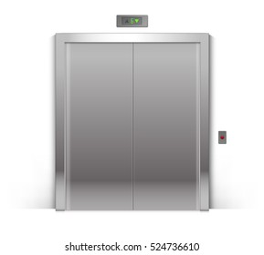 Vector Realistic Closed Chrome Metal Office Building Elevator Doors Isolated on Background