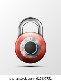 Vector realistic closed padlock. Steel Mechanical Combination lock. Privacy illustration. Enter the PIN code. Electronic lock icon. Reliable Protection badge. Code combination symbol