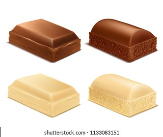 Vector realistic collection of chocolate pieces, brown and white milk bars, isolated on background. Sweet confectionery product, tasty cocoa dessert for eating and cooking. Mockup for package design