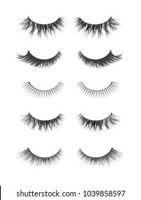 Vector realistic collection of false lashes. Trendy fashion illustration for mascara pack or beauty products design. Feminine eyelashes set on white background