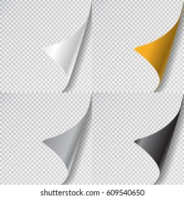 Vector realistic collection of isolated paper page curl on the transparent background.
