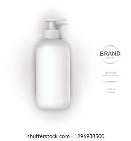 Vector realistic cosmetic container template, white plastic bottle with dispenser, pump and brand label isolated on white background. Skin care cosmetics, cream, lotion, liquid soap or bath foam