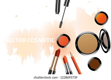vector realistic cosmetic product on water colour background.autumn concept