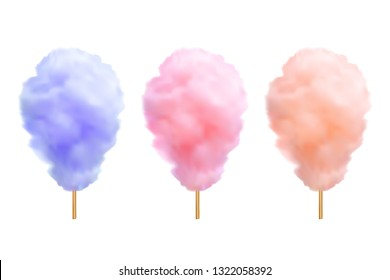 Vector realistic cotton candies on a stick isolated on white background.