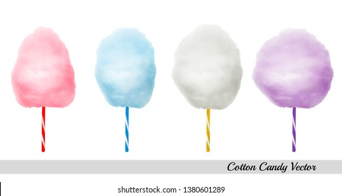 Vector realistic cotton candies on colourful confectionery candyfloss sticks. Sweet sugar clouds.