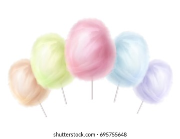 Vector realistic cotton candies on a stick isolated on background