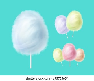 Vector realistic cotton candies on a stick isolated on color background