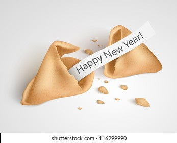 Vector realistic cracked fortune cookie with place on paper for your text.