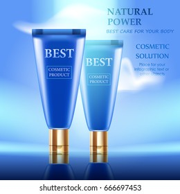 Vector realistic cream tubes. Day cosmetic. Background with sky and clouds