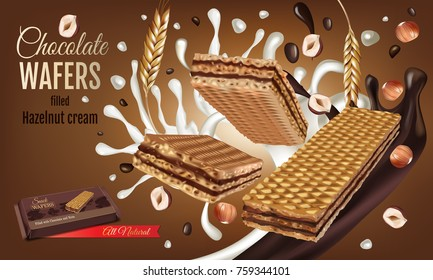Vector realistic and crispy waffle bar  filled milk chocolate and hazelnut cream.. Colorful isolated wafer and hazelnut on brown background. Ad package crunchy sweet wafer.
