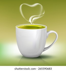 Vector realistic cup of green tea with heart shape steam. Tea illustration.