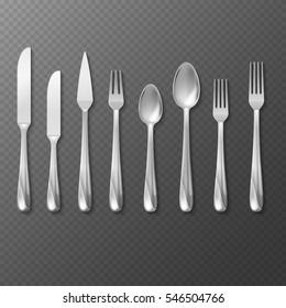 Vector realistic cutlery set, silver or steel fork, spoon, knife.