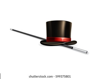 Vector realistic cylinder hat with stick isolated on white background.