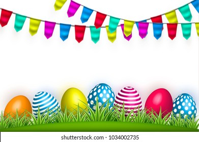 Vector realistic decorated easter eggs on green grass meadow field festival bunting flags background isolated white backdrop. Holiday spring easter invitation card design template with space for text