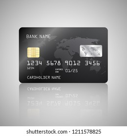 Vector Realistic detailed credit card with the world map on black background. Vector illustration design EPS10