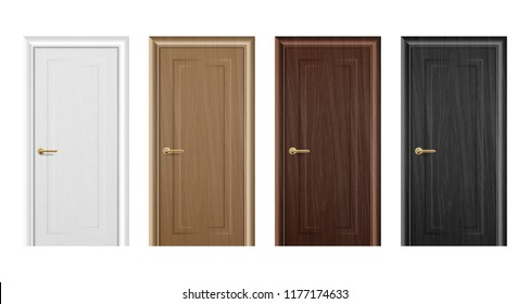 Vector realistic different closed brown wooden door icon set closeup isolated on white background. Elements of architecture. Design template for graphics, Front view