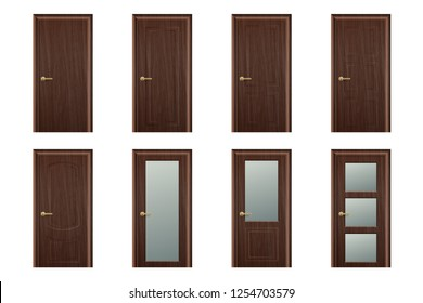 Vector Realistic Different Closed Brown Wooden Door Icon Set Closeup Isolated on White Background. Elements of Architecture. Design template of Classic Home Door for Graphics, Clipart. Front View