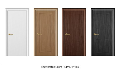 Vector realistic different closed white, brown and black wooden door icon set closeup isolated on white background. Elements of architecture. Design template for graphics. Colorful front doors to