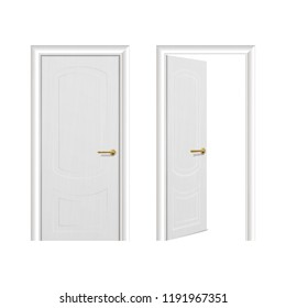 Vector realistic different opened and closed white wooden door icon set closeup isolated on white background. Elements of architecture. Design template for graphics, Front view