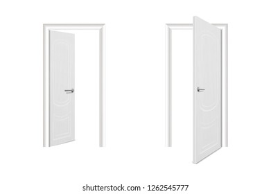 Vector Realistic Different Opened and Closed White Wooden Door Icon Set Closeup Isolated on White Background. Elements of Architecture. Design template of Classic Home Door for Graphics. Front View