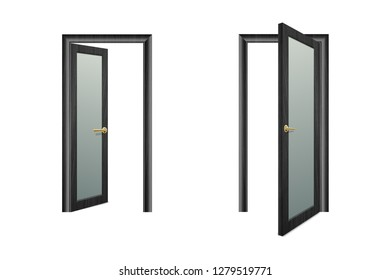 Vector Realistic Different Opened and Closed Black Wooden Door Icon Set Closeup Isolated on Brown Background. Elements of Architecture. Design template of Classic Home Door for Graphics. Front View