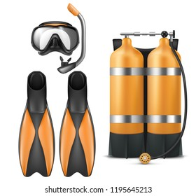 Vector realistic diver equipment set, snorkeling mask with snorkel, orange aqualung and flippers isolated on white background. Clipart with black goggles, rubber swim fins, sport gear for scuba diving