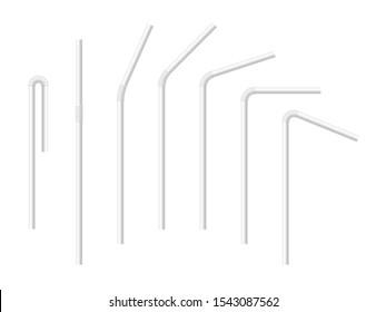 Vektorrealistische Trinkstrohhalme für Milchgetränke, Cocktails oder Alkohol. Satz von weißen Trinkstrohhalmen einzeln auf verschiedenen Kurven. 3D-Vorlage für Design.