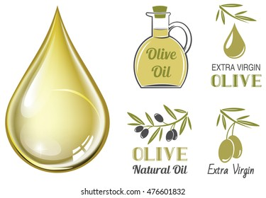 Vector realistic drop of olive oil and set of olive labels