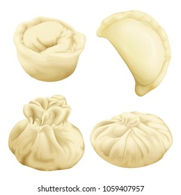Vector realistic dumplings set. Vareniki pierogi khinkali xiao long bao baozi momo ravioli. Stuffed pork meat dough vegetable. 3d illustration national ukrainian belorussian asian cuisine