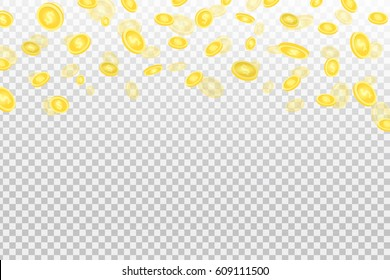 Vector realistic effect with falling coins on the transparent background